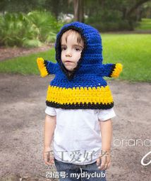 Blue Tang Fish Hooded Cowl